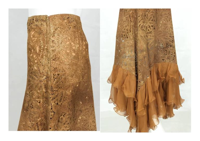 Emanuel Ungaro Suede Lace and Silk Ruffles Skirt - 1990s 8