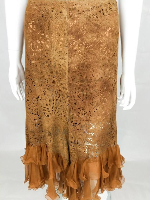 Emanuel Ungaro Suede Lace and Silk Ruffles Skirt - 1990s 3