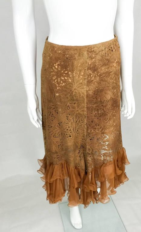 Emanuel Ungaro Suede Lace and Silk Ruffles Skirt - 1990s 2