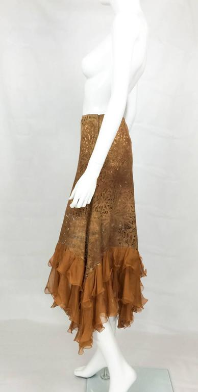 Emanuel Ungaro Suede Lace and Silk Ruffles Skirt - 1990s 4