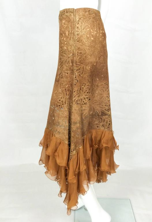 Emanuel Ungaro Suede Lace and Silk Ruffles Skirt - 1990s 5