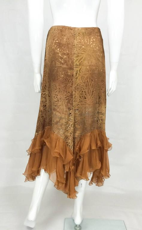 Emanuel Ungaro Suede Lace and Silk Ruffles Skirt - 1990s 6