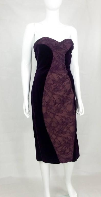 Stylish Paco Rabanne Velvet and Lace Dress. This great looking dress was made, we believe, as a prototype in the late 70s, early 80s. In purple velvet and lace it a very clever panel technique that gives a beautiful and sexy silhouette. This