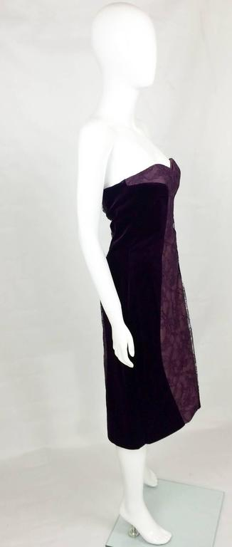 Paco Rabanne Velvet and Lace Dress - 1970s 3