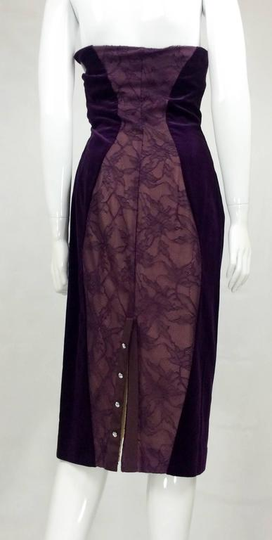Paco Rabanne Velvet and Lace Dress - 1970s 4
