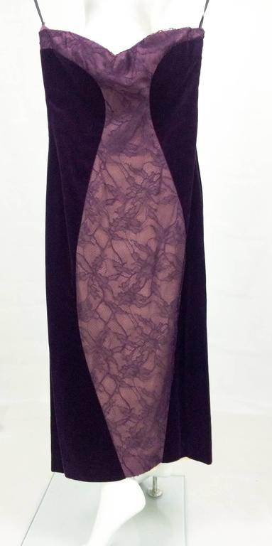 Paco Rabanne Velvet and Lace Dress - 1970s For Sale 1