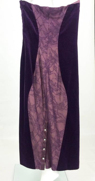 Paco Rabanne Velvet and Lace Dress - 1970s For Sale 2