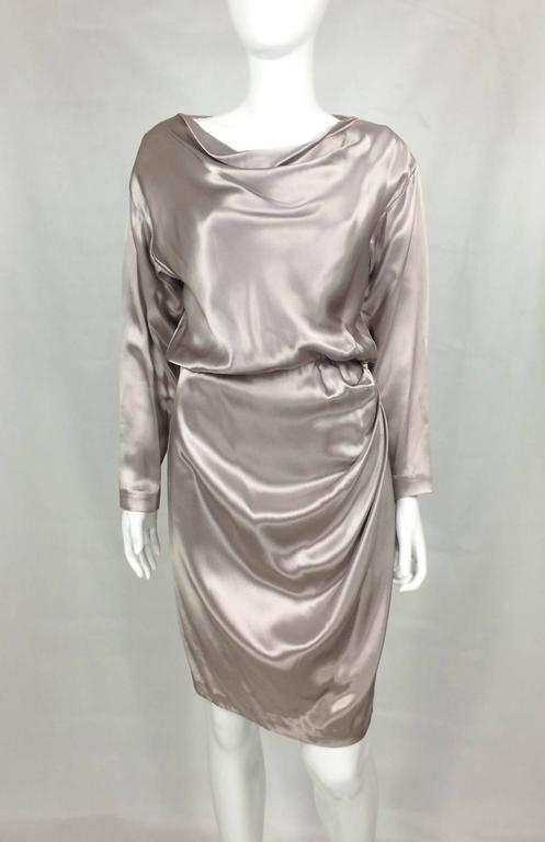 Yves Saint Laurent Silk Satin Draped Dress - 1980s 2