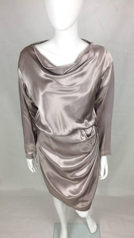 Yves Saint Laurent Silk Satin Draped Dress - 1980s 4