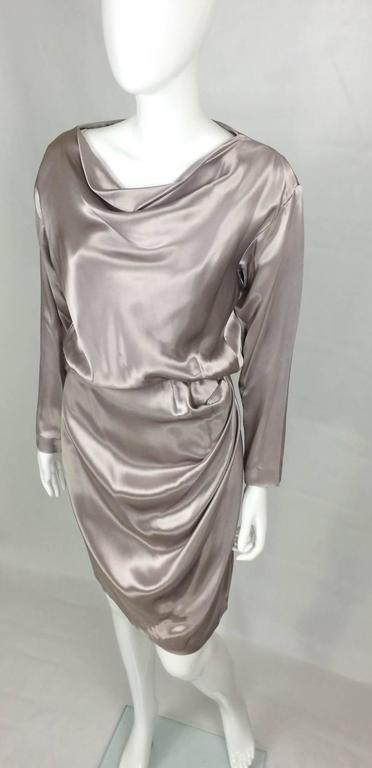 Yves Saint Laurent Silk Satin Draped Dress - 1980s 5