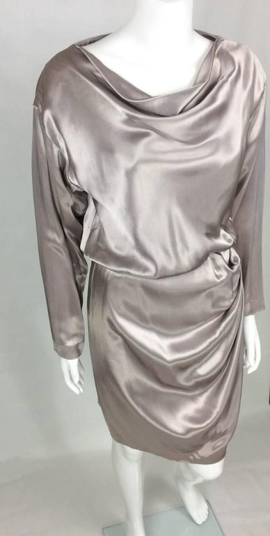 Yves Saint Laurent Silk Satin Draped Dress - 1980s 6
