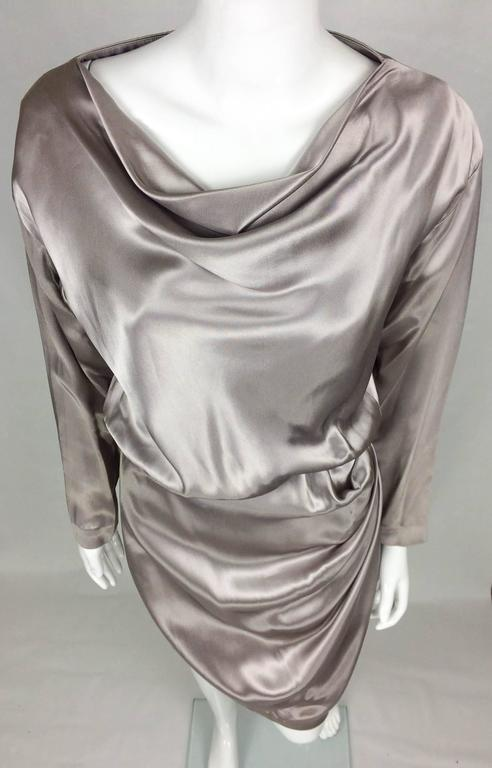 Yves Saint Laurent Silk Satin Draped Dress - 1980s 7