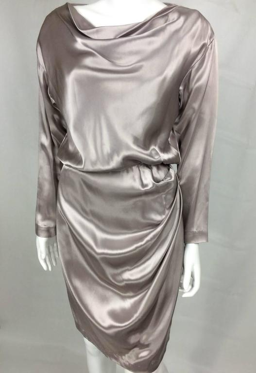 Yves Saint Laurent Silk Satin Draped Dress - 1980s 3