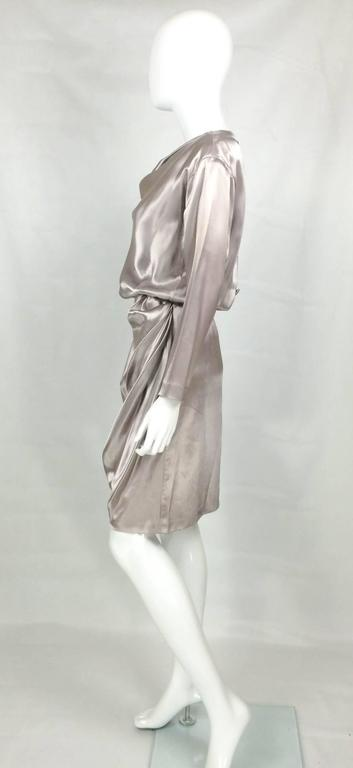 Yves Saint Laurent Silk Satin Draped Dress - 1980s 8