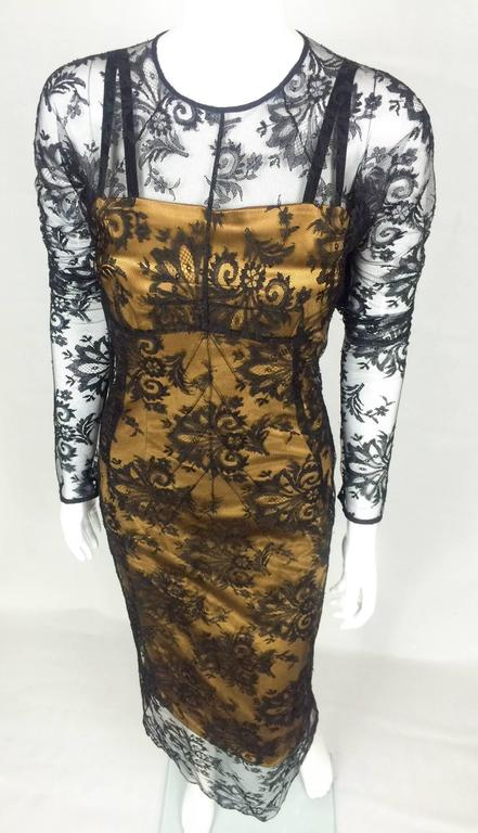 Black Dolce and Gabbana Two-Piece Lace Dress For Sale