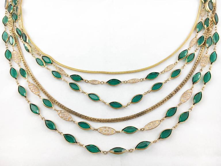 Women's Multi-Strand Gold-Toned and Green Paste Necklace - 1940s/1950s For Sale