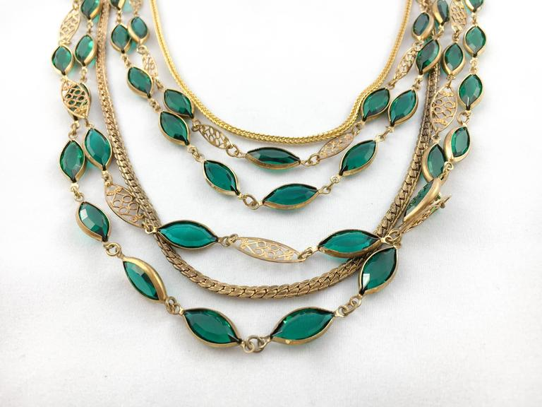 Multi-Strand Gold-Toned and Green Paste Necklace - 1940s/1950s For Sale 1