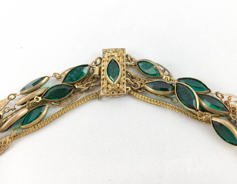 Multi-Strand Gold-Toned and Green Paste Necklace - 1940s/1950s For Sale 2