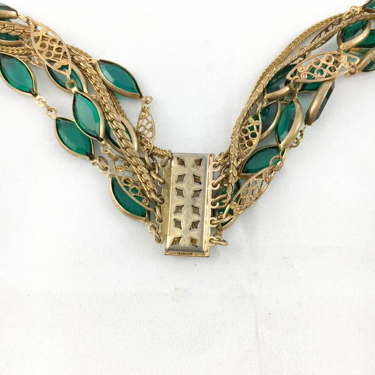 Multi-Strand Gold-Toned and Green Paste Necklace - 1940s/1950s For Sale 3
