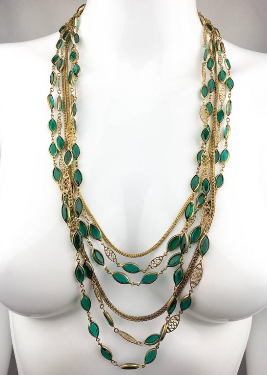 Multi-Strand Gold-Toned and Green Paste Necklace - 1940s/1950s For Sale 4