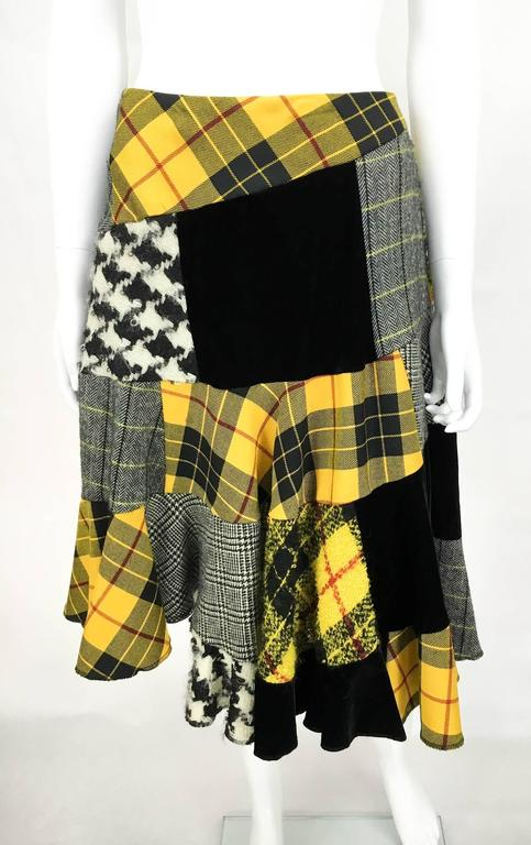 Comme des Garcons Patchwork Asymmetric Skirt - Early 1990s In Excellent Condition For Sale In London, Chelsea