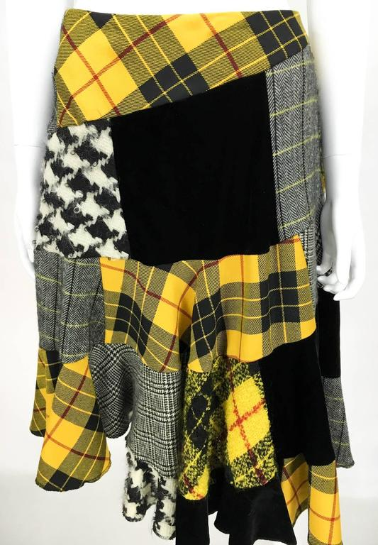 Women's Comme des Garcons Patchwork Asymmetric Skirt - Early 1990s For Sale