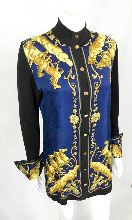 hermes cosmos print silk shirt jacket 1990s at 1stdibs
