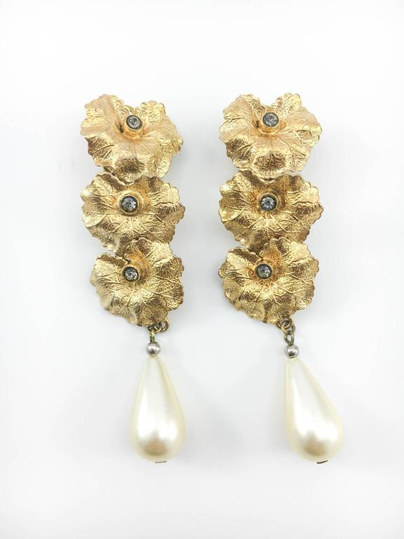 Henry Perichon Leaves and Pearl Drop Earrings - 1950s 3