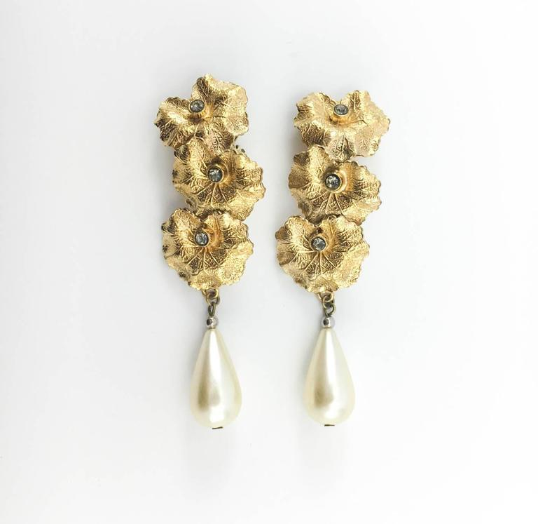 Henry Perichon Leaves and Pearl Drop Earrings - 1950s 4