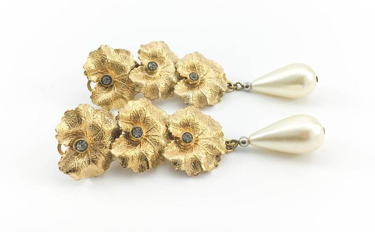 Henry Perichon Leaves and Pearl Drop Earrings - 1950s 6