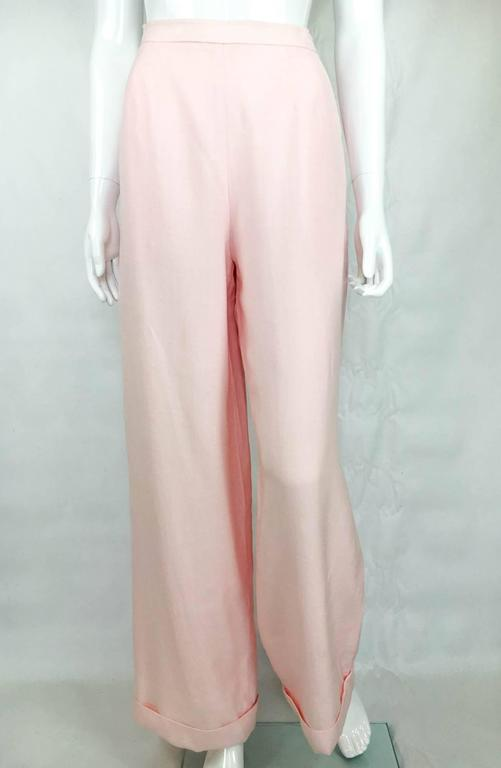 Beige Chanel Pale Pink Linen Wide Flared Leg High-Waisted Trousers/Pants - 1990S For Sale
