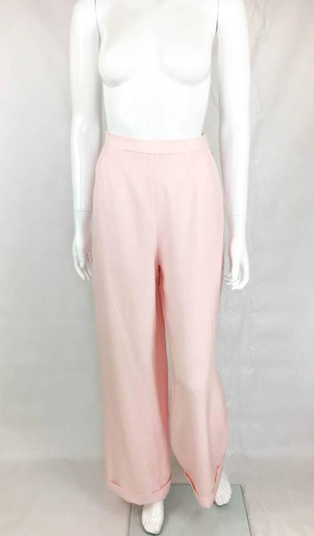 Chanel Pale Pink Linen Wide Flared Leg High-Waisted Trousers/Pants - 1990S In Excellent Condition For Sale In London, GB