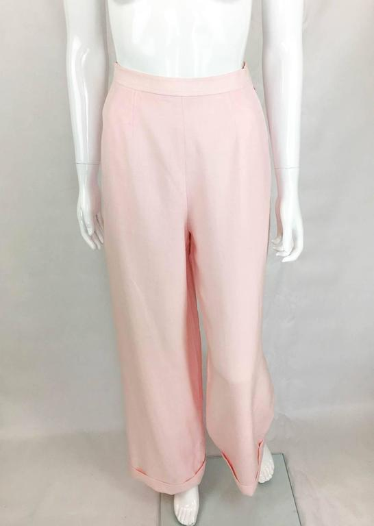 Women's Chanel Pale Pink Linen Wide Flared Leg High-Waisted Trousers/Pants - 1990S For Sale