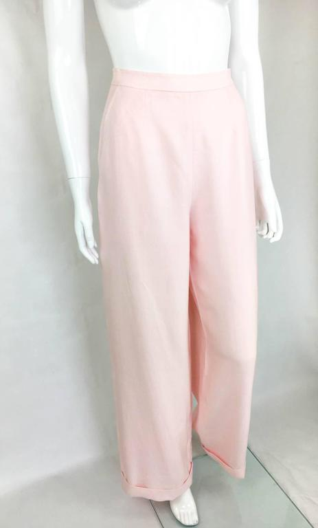 Chanel Pale Pink Linen Wide Flared Leg High-Waisted Trousers/Pants - 1990S For Sale 1