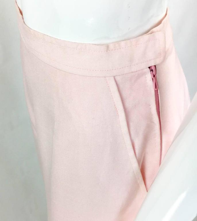 Chanel Pale Pink Linen Wide Flared Leg High-Waisted Trousers/Pants - 1990S For Sale 2