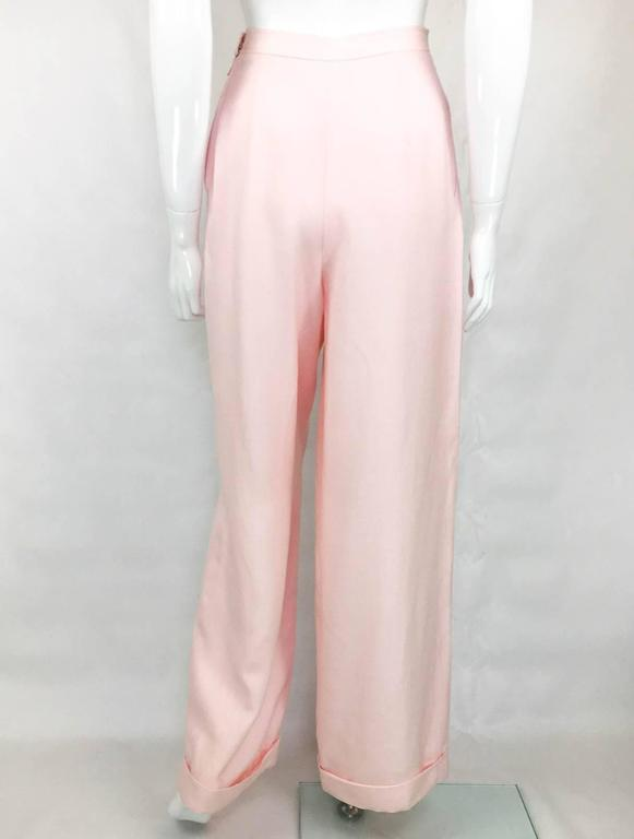 Chanel Pale Pink Linen Wide Flared Leg High-Waisted Trousers/Pants - 1990S For Sale 3