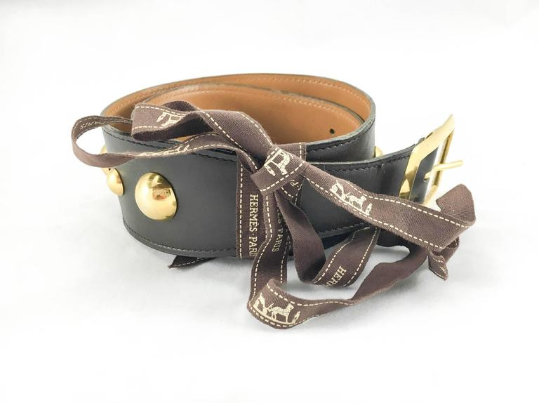hermes gilt hardware brown leather belt 1980s at 1stdibs