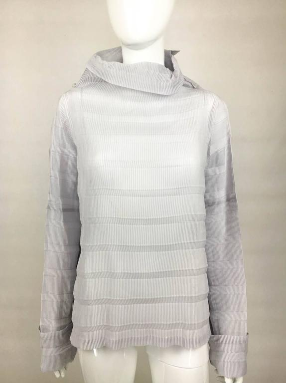 Gray Issey Miyake Pleated Pale Lavender Top - 2009 For Sale