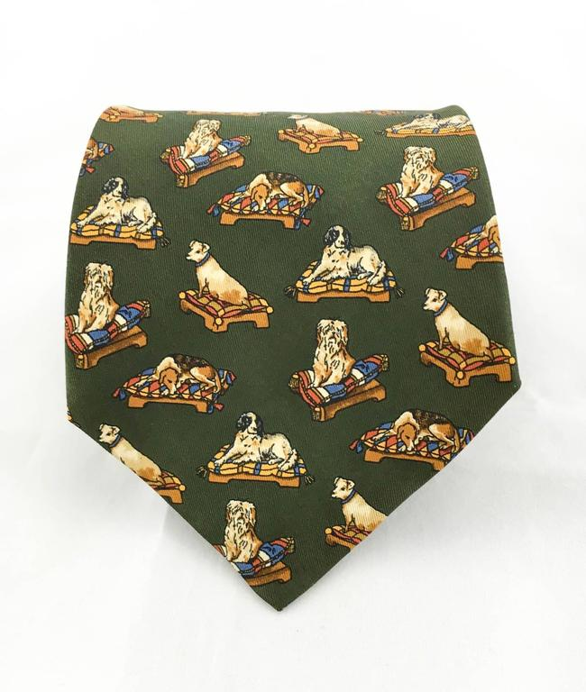 Black Salvatore Ferragamo 'Resting Dogs' Silk Tie For Sale