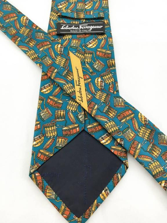 Salvatore Ferragamo 'Drums' Silk Tie In Excellent Condition For Sale In London, Chelsea