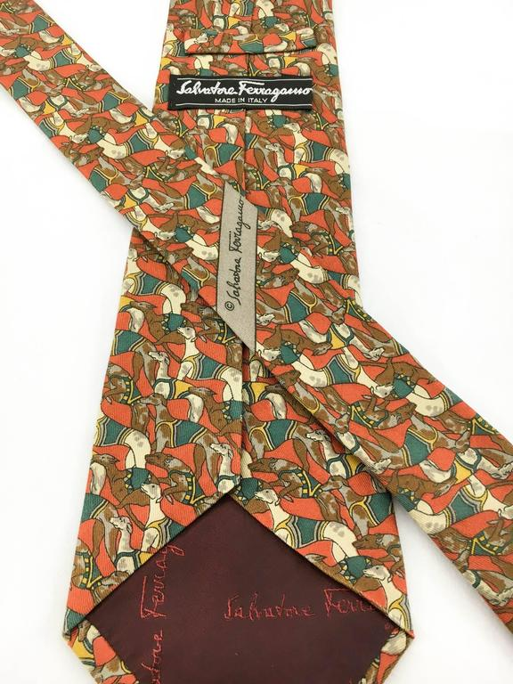 Salvatore Ferragamo 'Racing Dogs' Silk Tie In Excellent Condition For Sale In London, Chelsea