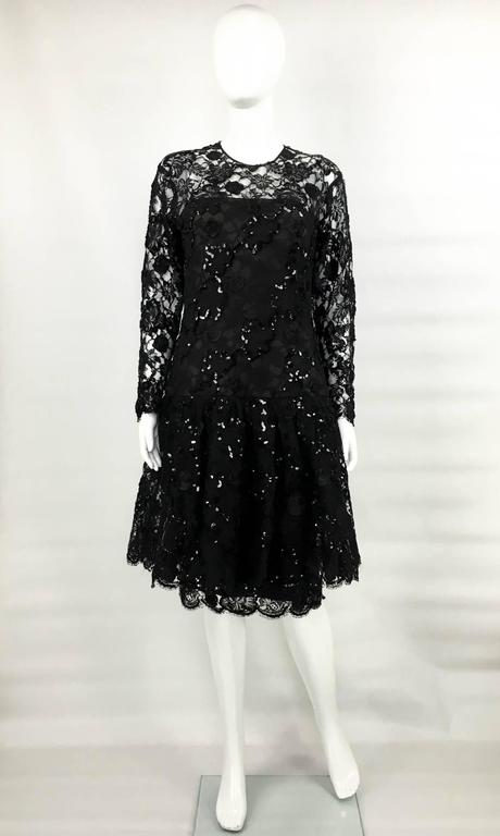 Dior 1987 Fall/Winter Campaign Lace and Sequins Black Dress In Excellent Condition For Sale In London, Chelsea