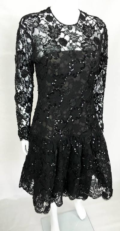 Women's Dior 1987 Fall/Winter Campaign Lace and Sequins Black Dress For Sale