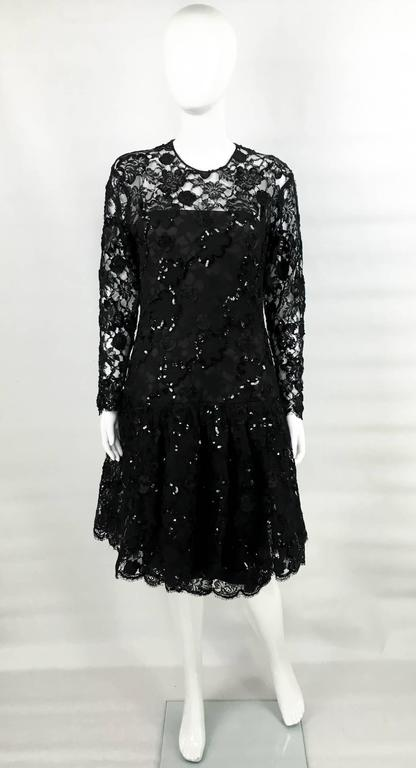 Dior 1987 Fall/Winter Campaign Lace and Sequins Black Dress For Sale 1