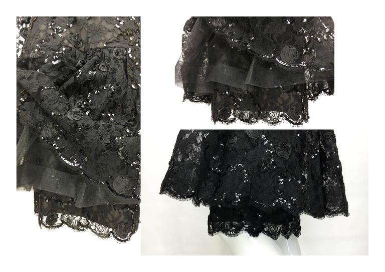 Dior 1987 Fall/Winter Campaign Lace and Sequins Black Dress For Sale 5