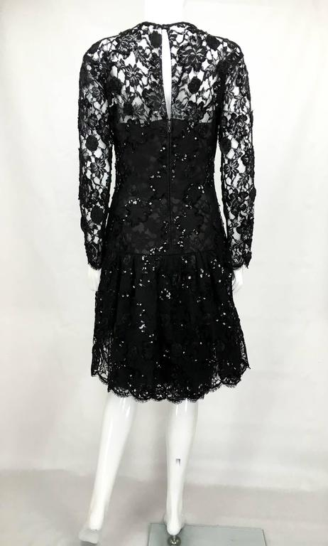 Dior 1987 Fall/Winter Campaign Lace and Sequins Black Dress For Sale 3