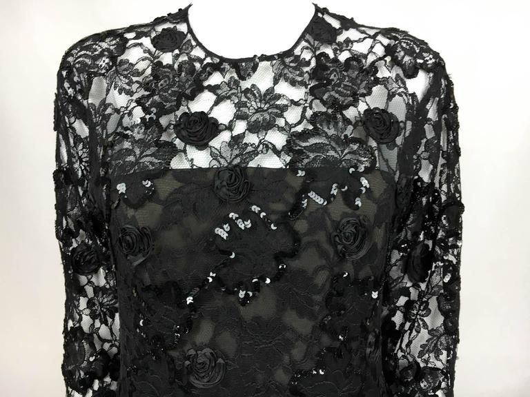 Dior 1987 Fall/Winter Campaign Lace and Sequins Black Dress For Sale 4