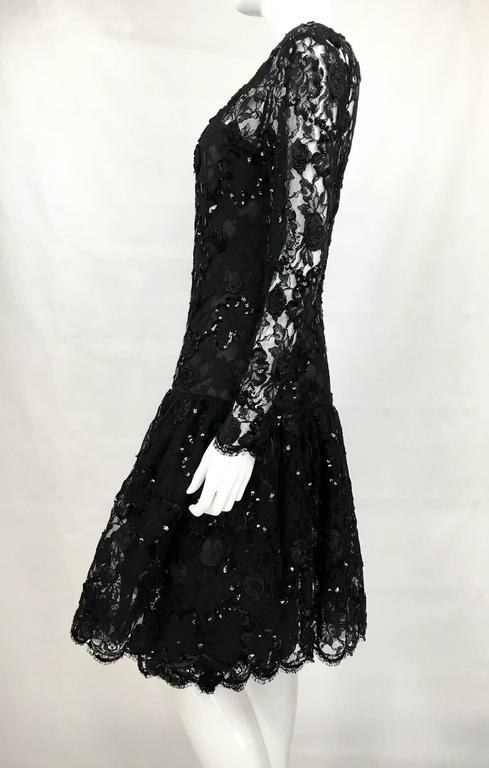 Dior 1987 Fall/Winter Campaign Lace and Sequins Black Dress For Sale 2
