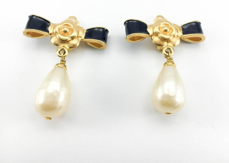 Chanel Gold-Plated Camellia, Enameled Black Bow and Pearl Drop Earrings - 1993 2