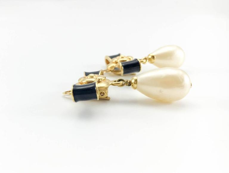 Chanel Gold-Plated Camellia, Enameled Black Bow and Pearl Drop Earrings - 1993 4